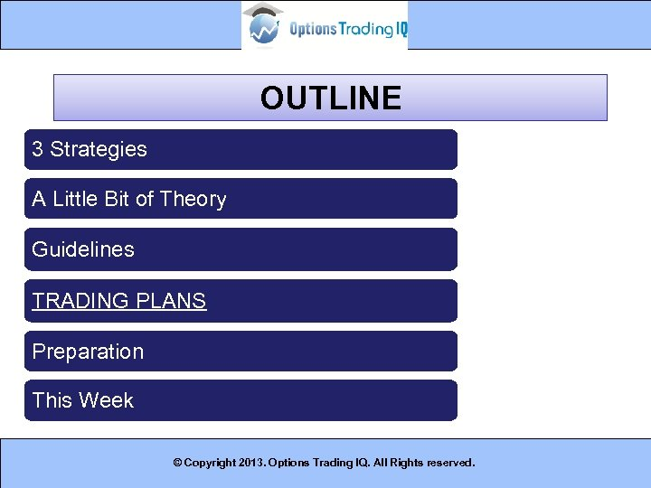OUTLINE 3 Strategies A Little Bit of Theory Guidelines TRADING PLANS Preparation This Week