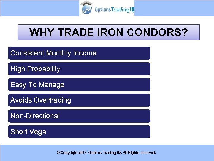 WHY TRADE IRON CONDORS? Consistent Monthly Income High Probability Easy To Manage Avoids Overtrading