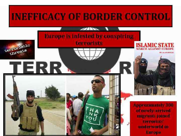 INEFFICACY OF BORDER CONTROL Europe is infested by conspiring terrorists Approximately 300 of newly-arrived