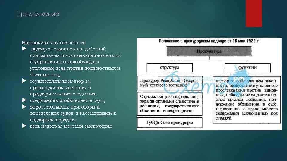 Продолжение На прокуратуру возлагался: надзор за законностью действий центральных и местных органов власти и