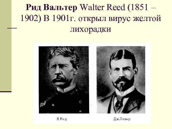 Рид Вальтер Walter Reed (1851 – 1902) В 1901 г. открыл вирус желтой лихорадки