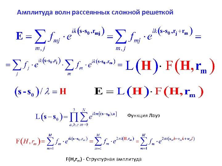 Амплитуда волн рассеянных сложной решеткой Функция Лауэ F(H, rm) - Структурная амплитуда