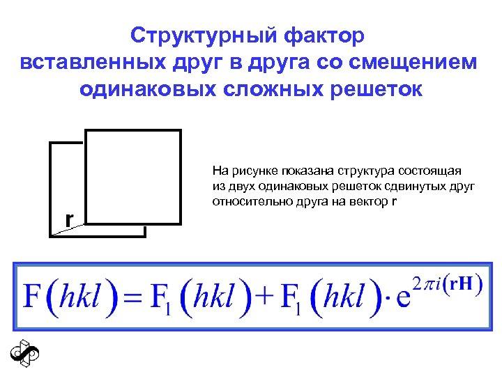 Структурный фактор вставленных друг в друга со смещением одинаковых сложных решеток На рисунке показана