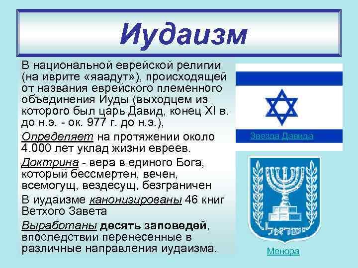 Иудаизм В национальной еврейской религии (на иврите «яаадут» ), происходящей от названия еврейского племенного