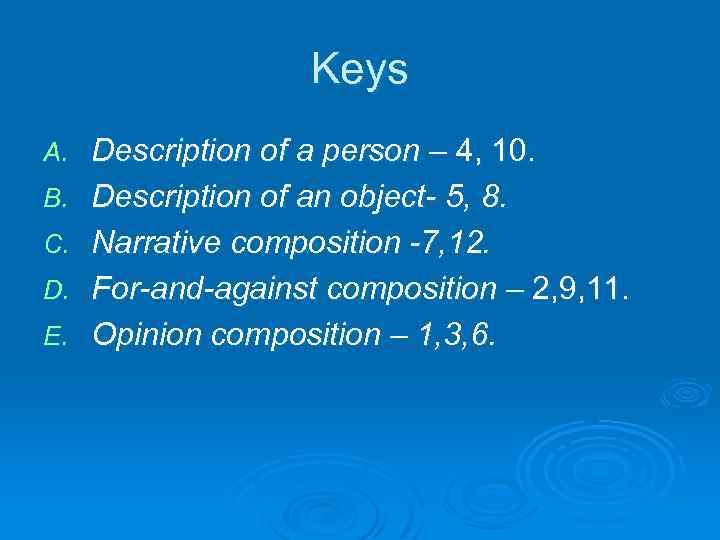 Keys A. B. C. D. E. Description of a person – 4, 10. Description