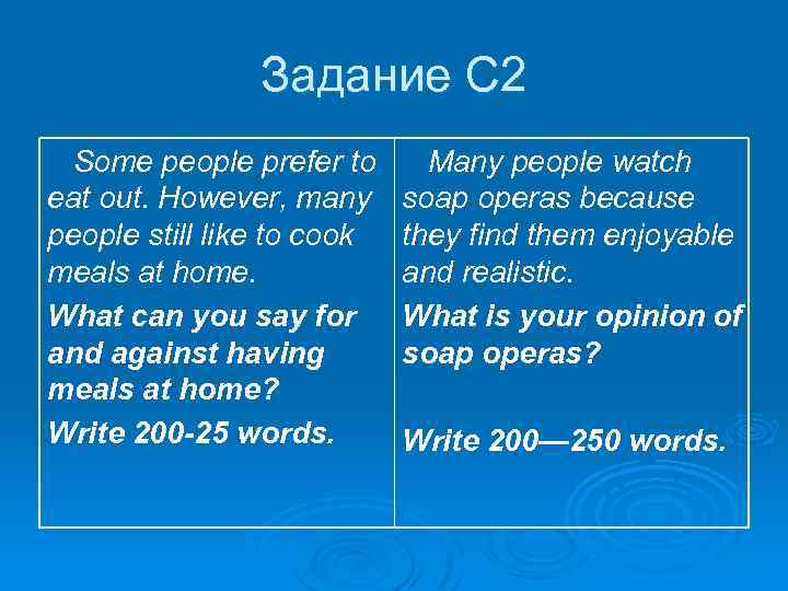 Задание С 2 Some people prefer to eat out. However, many people still like