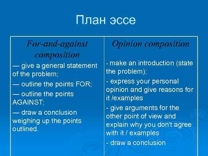 План эссе For-and-against composition — give a general statement of the problem; — outline