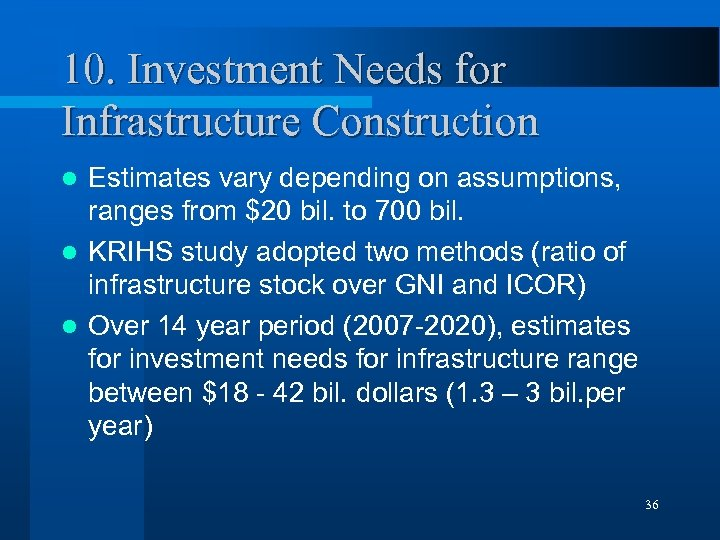 10. Investment Needs for Infrastructure Construction Estimates vary depending on assumptions, ranges from $20