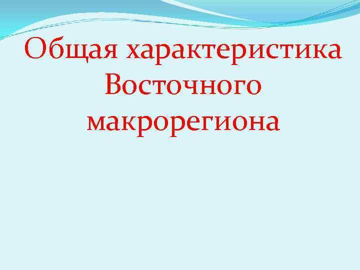 Общая характеристика Восточного макрорегиона