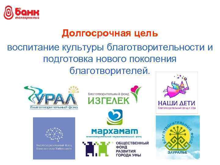 Долгосрочная цель воспитание культуры благотворительности и подготовка нового поколения благотворителей.