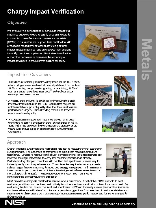 Charpy Impact Verification Objective Impact and Customers • Infrastructure reliability remains a key issue