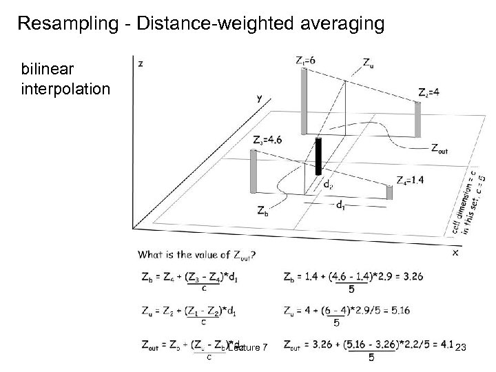 Resampling - Distance-weighted averaging bilinear interpolation Lecture 7 23