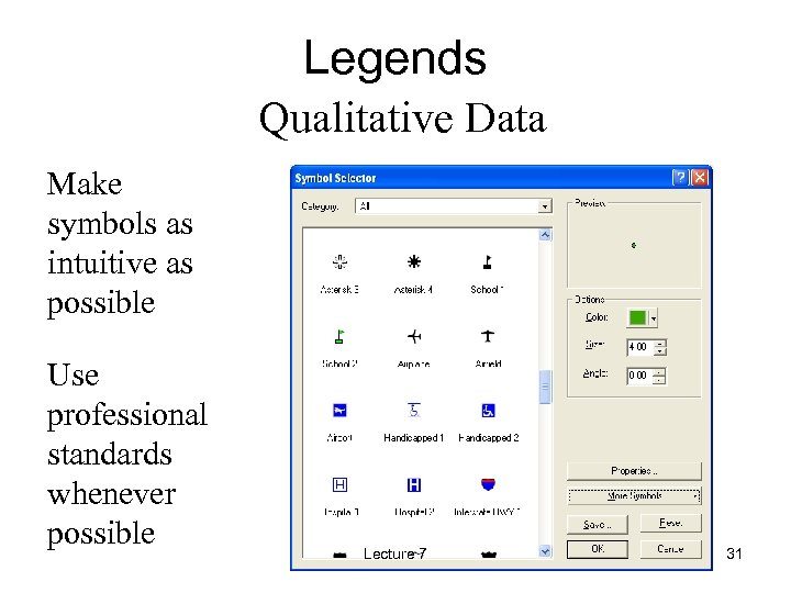 Legends Qualitative Data Make symbols as intuitive as possible Use professional standards whenever possible