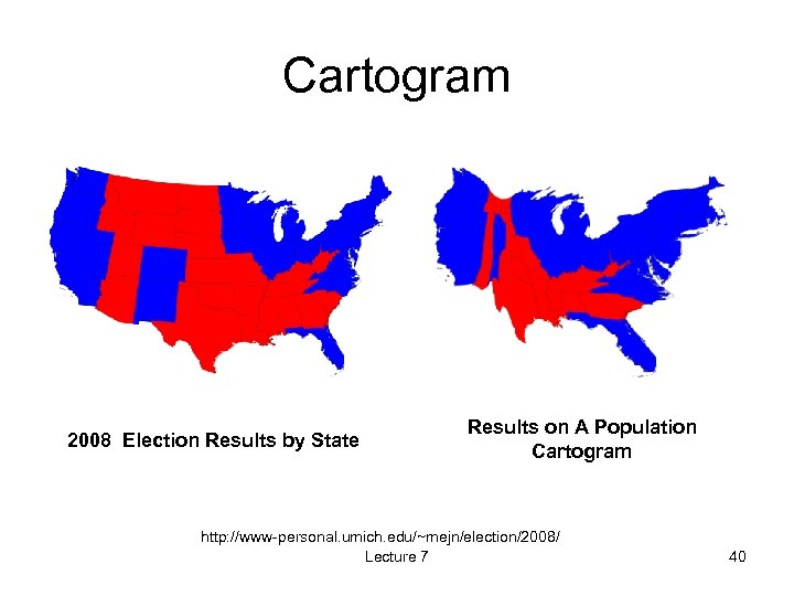 Cartogram 2008 Election Results by State Results on A Population Cartogram http: //www-personal. umich.