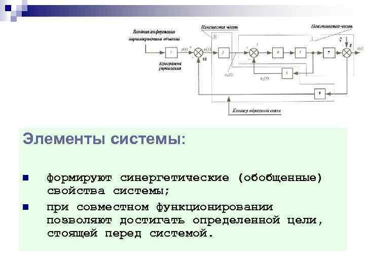Элементы системы: n n формируют синергетические (обобщенные) свойства системы; при совместном функционировании позволяют достигать