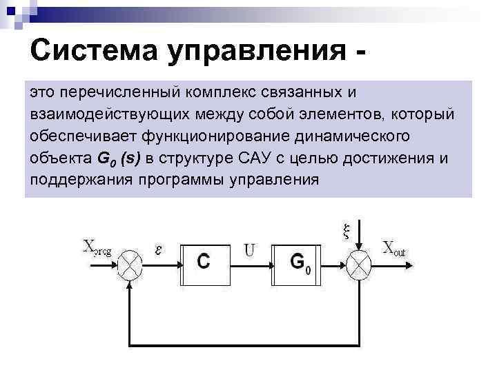 Система управления это перечисленный комплекс связанных и взаимодействующих между собой элементов, который обеспечивает функционирование
