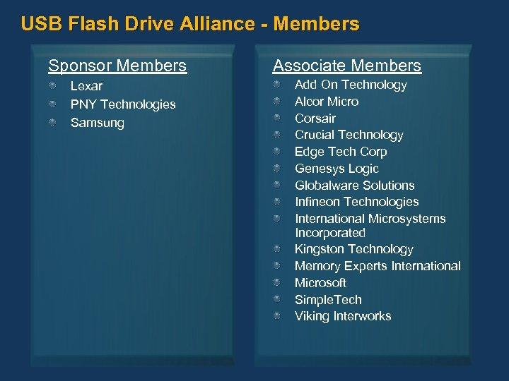 USB Flash Drive Alliance - Members Sponsor Members Lexar PNY Technologies Samsung Associate Members