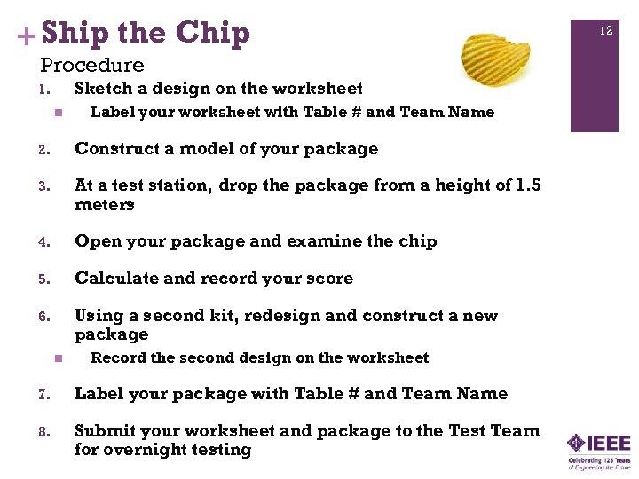 + Ship the Chip Procedure Sketch a design on the worksheet 1. n Label
