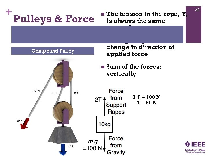 + The tension in the rope, T, is always the same everywhere n Pulleys