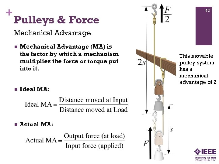 + 40 Pulleys & Force Mechanical Advantage n Mechanical Advantage (MA) is the factor