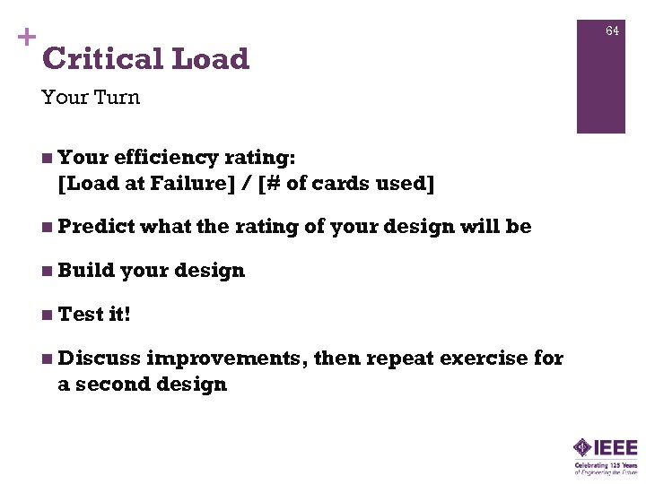 + 64 Critical Load Your Turn n Your efficiency rating: [Load at Failure] /