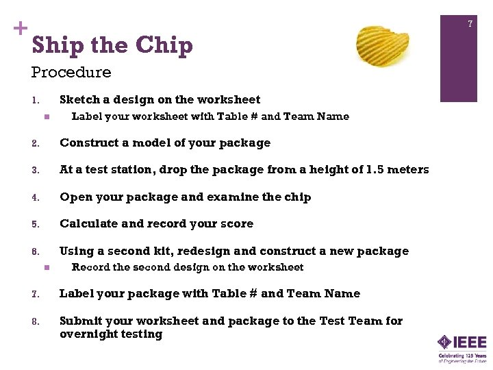 + 7 Ship the Chip Procedure Sketch a design on the worksheet 1. n