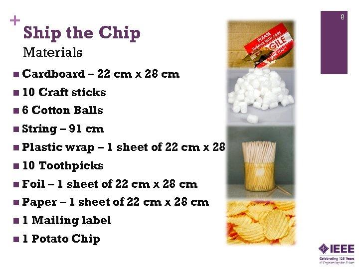 + 8 Ship the Chip Materials n Cardboard n 10 n 6 – 22