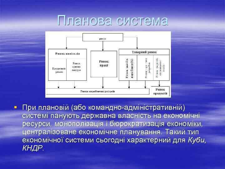 Планова система § При плановій (або командно-адміністративній) системі панують державна власність на економічні ресурси,