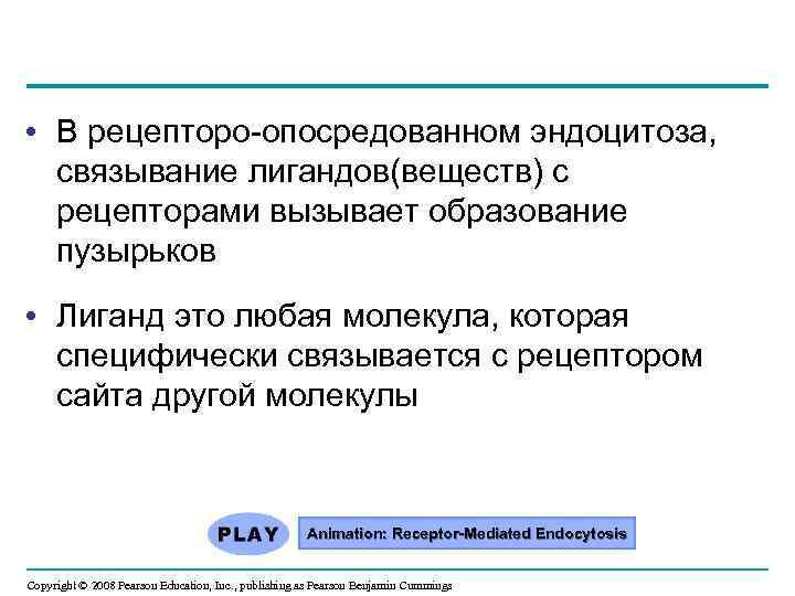• В рецепторо-опосредованном эндоцитоза, связывание лигандов(веществ) с рецепторами вызывает образование пузырьков • Лиганд