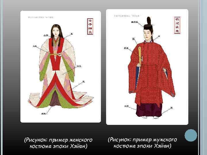 (Рисунок: пример женского костюма эпохи Хэйан) (Рисунок: пример мужского костюма эпохи Хэйан)