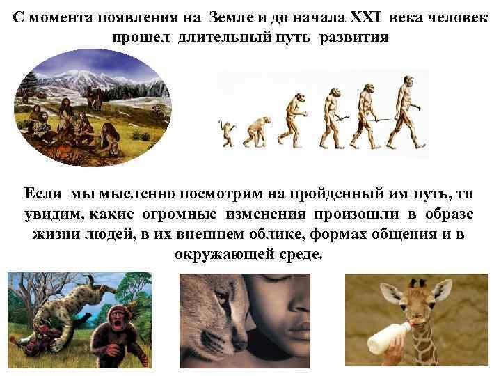 С момента появления на Земле и до начала XXI века человек прошел длительный путь