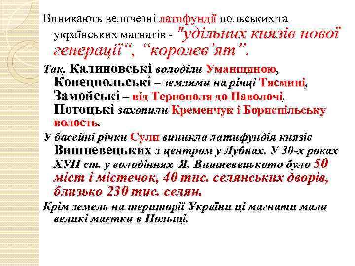Виникають величезні латифундії польських та українських магнатів -