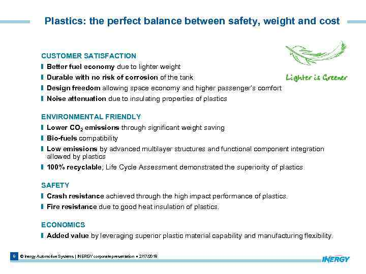 Plastics: the perfect balance between safety, weight and cost CUSTOMER SATISFACTION Better fuel economy