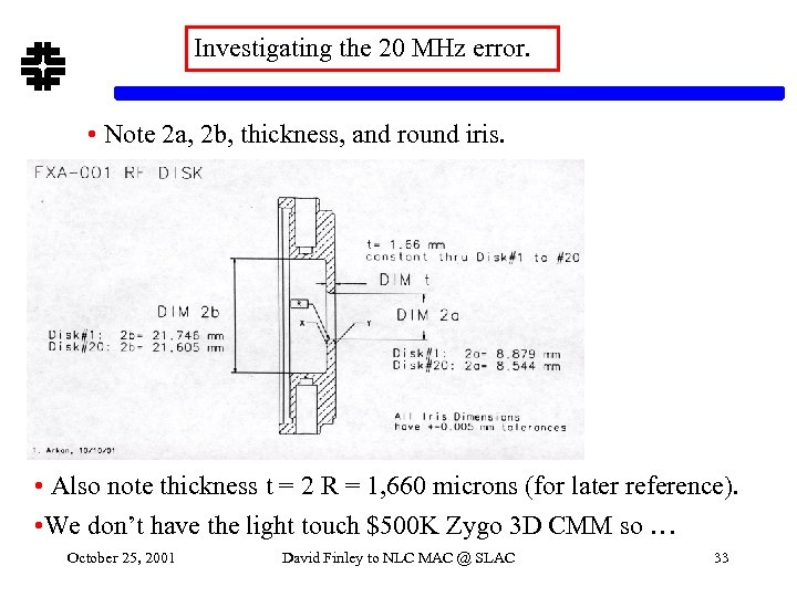 Investigating the 20 MHz error. • Note 2 a, 2 b, thickness, and round