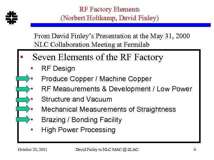 RF Factory Elements (Norbert Holtkamp, David Finley) From David Finley's Presentation at the May