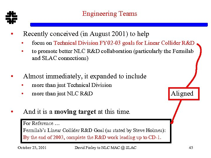 Engineering Teams • Recently conceived (in August 2001) to help • • • Almost