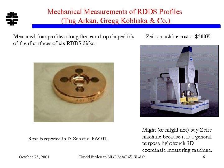 Mechanical Measurements of RDDS Profiles (Tug Arkan, Gregg Kobliska & Co. ) Measured four