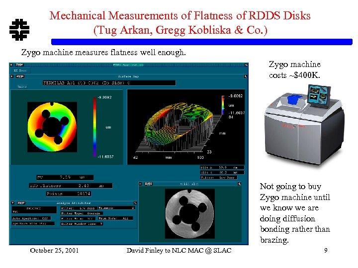 Mechanical Measurements of Flatness of RDDS Disks (Tug Arkan, Gregg Kobliska & Co. )