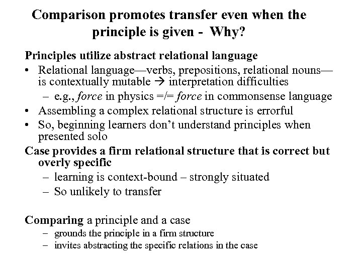 Comparison promotes transfer even when the principle is given - Why? Principles utilize abstract