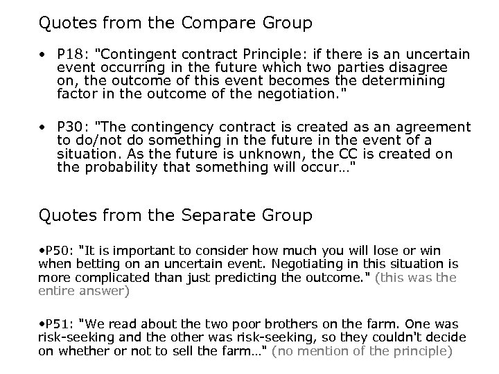 Quotes from the Compare Group • P 18: