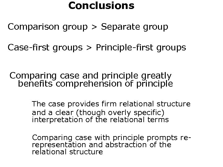 Conclusions Comparison group > Separate group Case-first groups > Principle-first groups Comparing case and