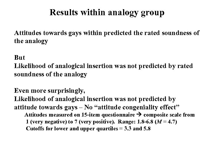 Results within analogy group Attitudes towards gays within predicted the rated soundness of the