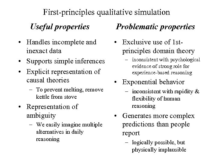 First-principles qualitative simulation Useful properties Problematic properties • Handles incomplete and inexact data •