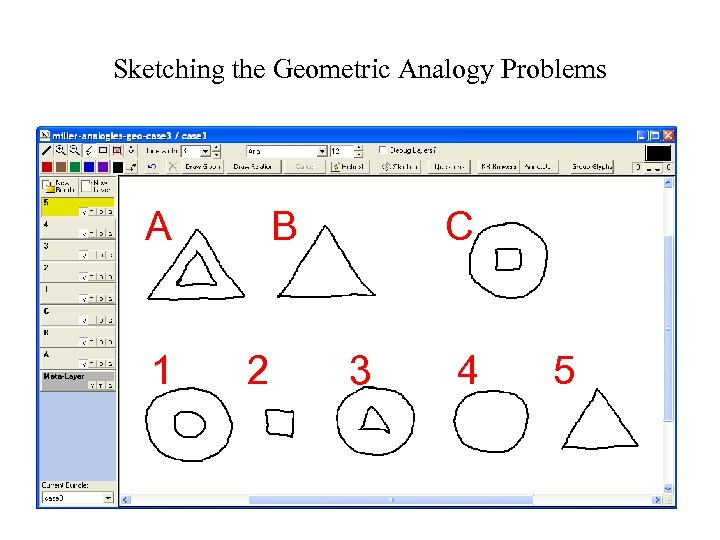 Sketching the Geometric Analogy Problems A 1 B 2 C 3 4 5