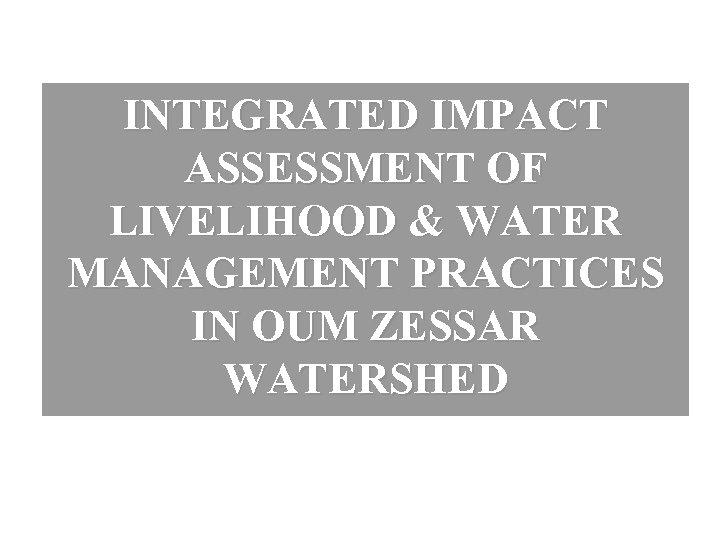 INTEGRATED IMPACT ASSESSMENT OF LIVELIHOOD & WATER MANAGEMENT PRACTICES IN OUM ZESSAR WATERSHED