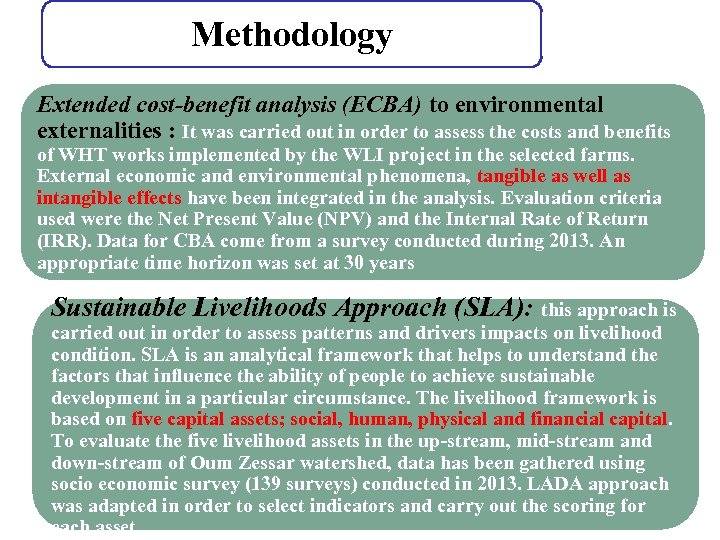 Methodology Extended cost-benefit analysis (ECBA) to environmental externalities : It was carried out in