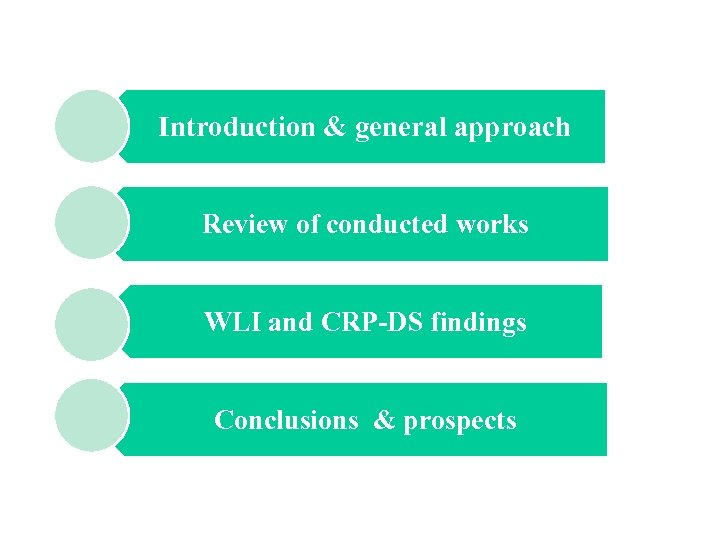 Introduction & general approach Review of conducted works WLI and CRP-DS findings Conclusions &
