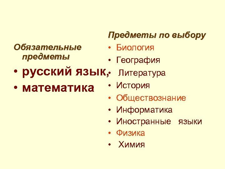 Предметы по выбору Обязательные • Биология предметы • География • русский язык, • Литература