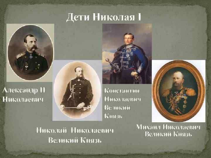 Дети Николая I Александр II Николаевич Константин Николаевич Великий Князь Николай Николаевич Великий Князь