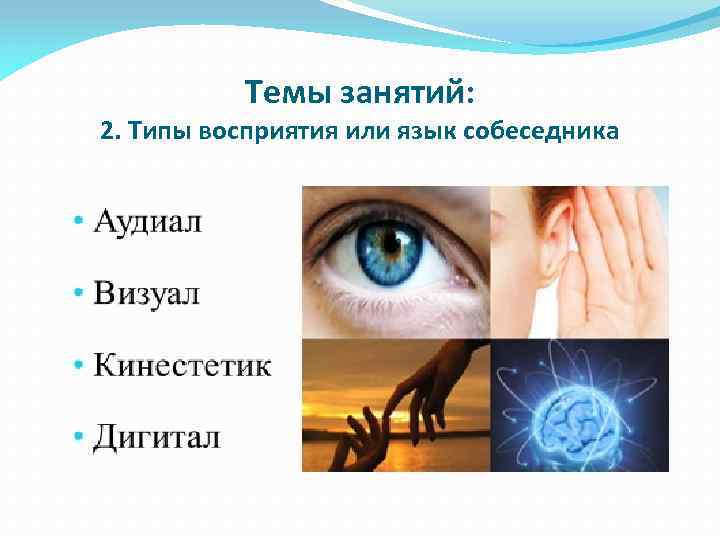 Темы занятий: 2. Типы восприятия или язык собеседника